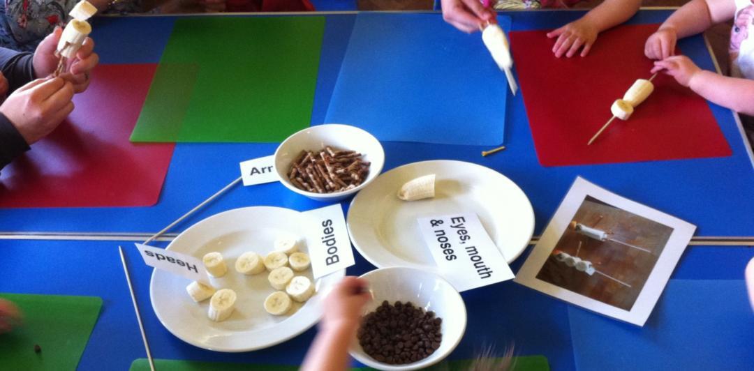 Food based toddler group activities - making banana people