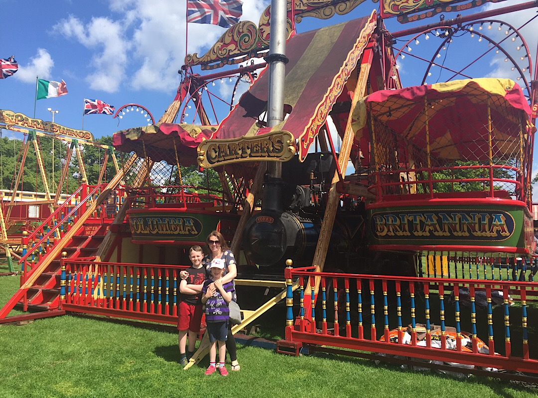 Me, Girl Child and Boy Child in front of the Steam Yachts at Carter's Steam Fair