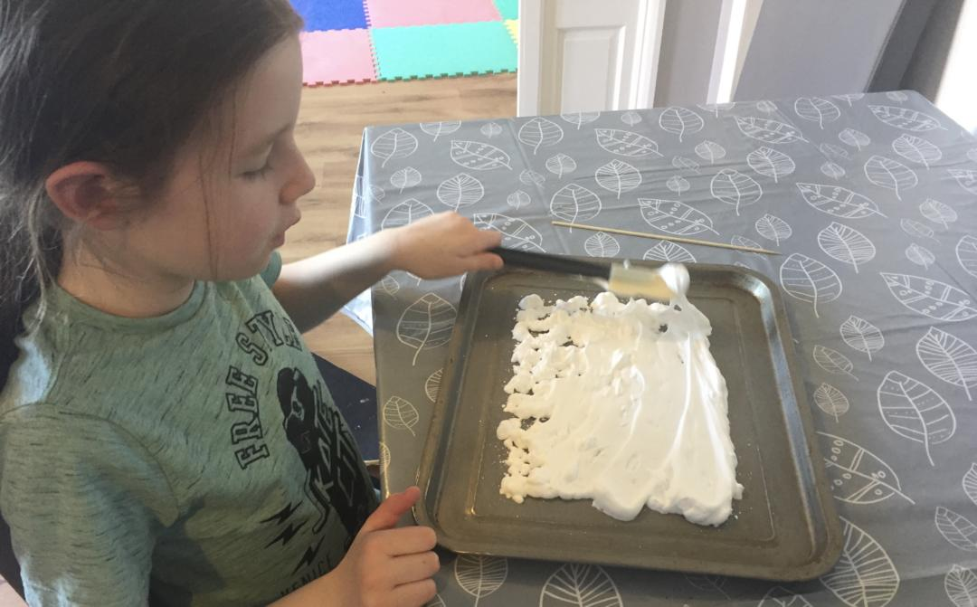 Spreading the Shaving Foam before we add the colour