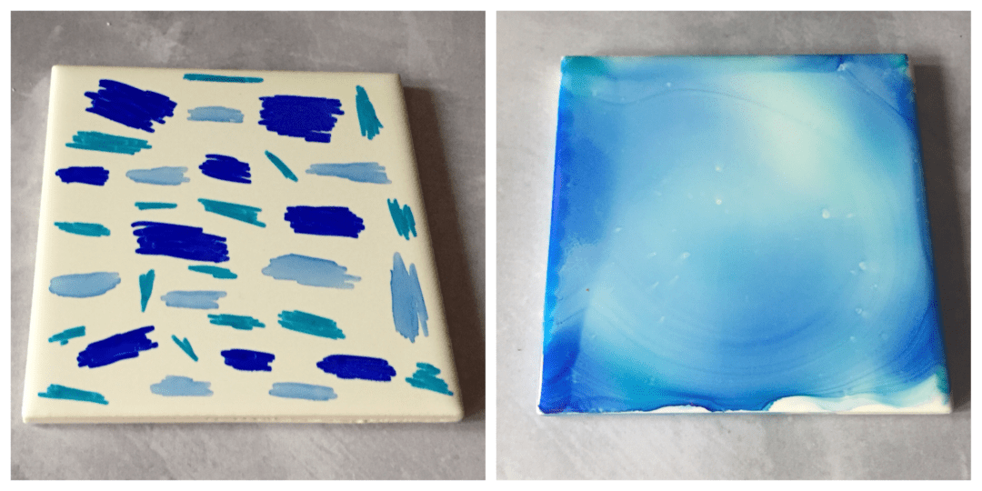 Blue ceramic tile before and after