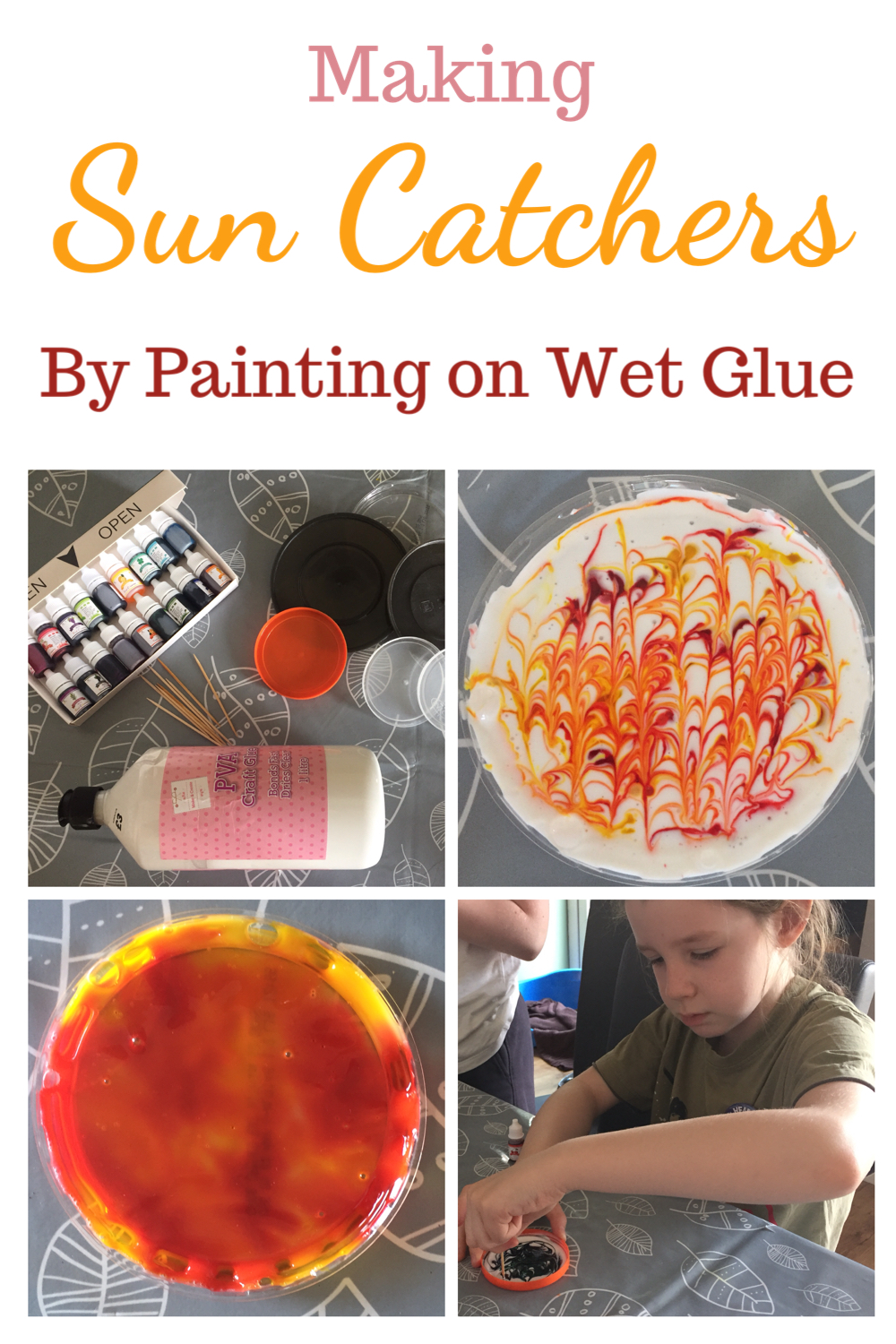 Making sun catchers by painting on wet glue