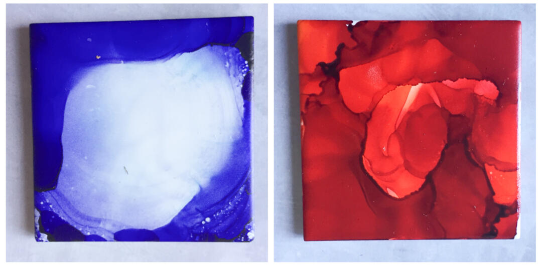 Using lots of the same colour ink on a tile and using the compressed air to create thinner and thicker areas of ink