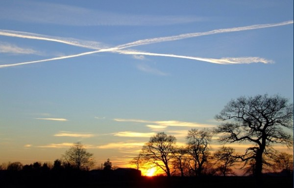 Sky with vapour trails