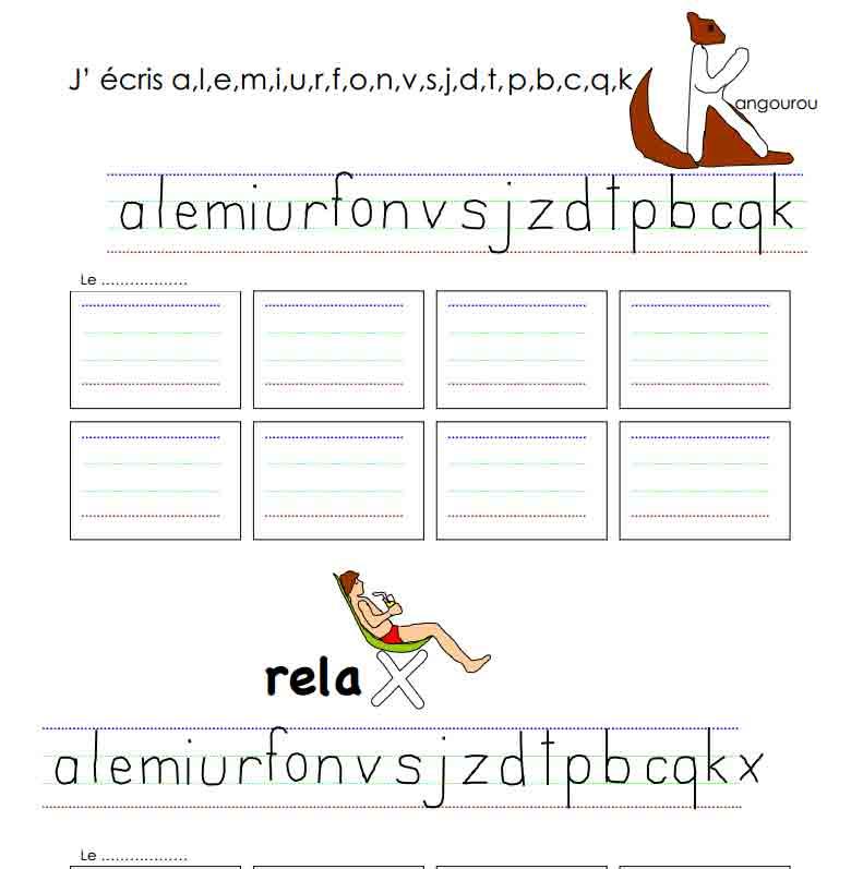 Dictée J'écris a, l, e, i, m, u, r, o, f, n, v, s, j, z, d, t, p, b, c, qu, k, x