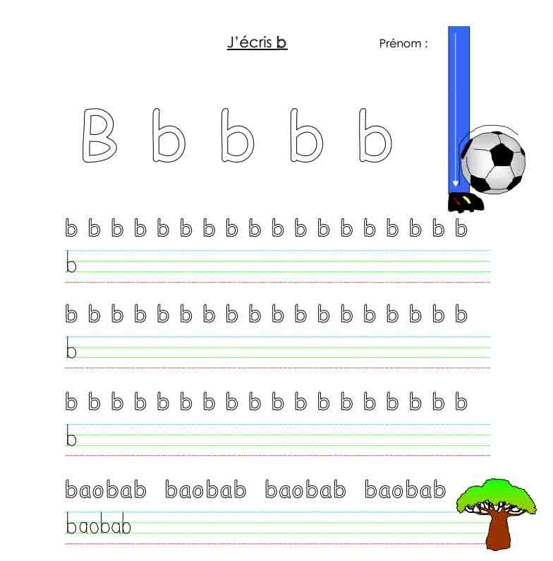 J'écris B