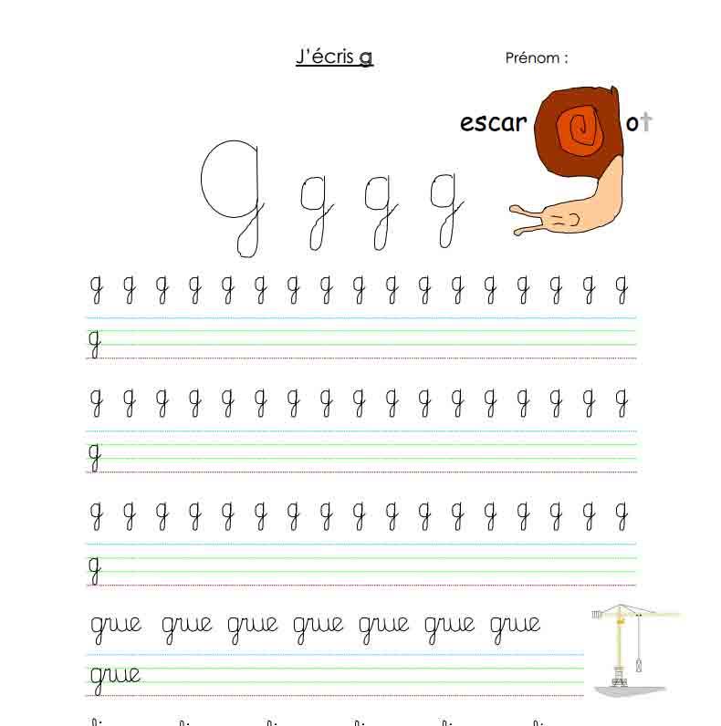 J'écris G