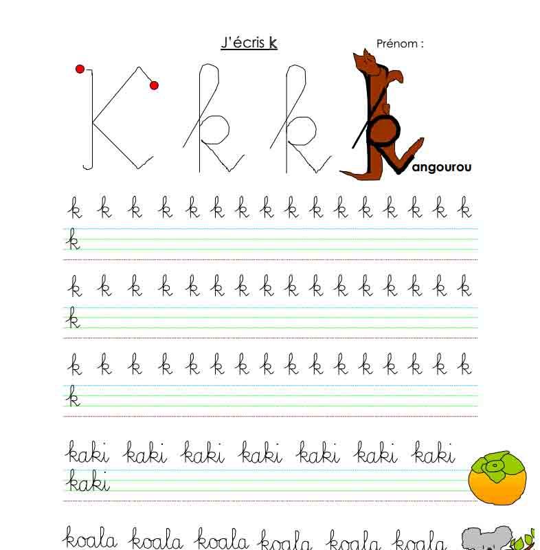 J'écris K