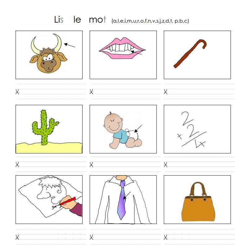 Lis le mot (a, l, e, i, m, u, r, o, f, n, v, s, j, z, d, t, p, b, c)