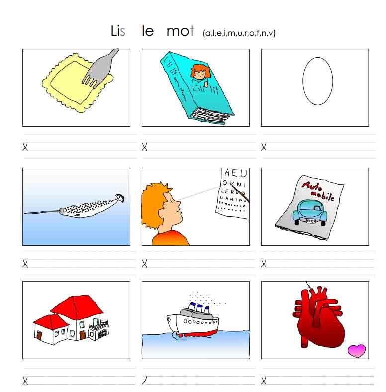 Lis le mot (a, l, e, m, i, u, r, o, f, n, v)