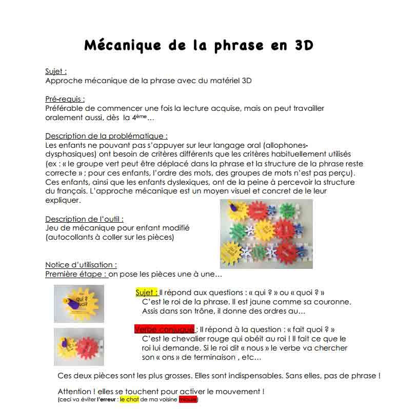 Mécanique de la phrase en 3D