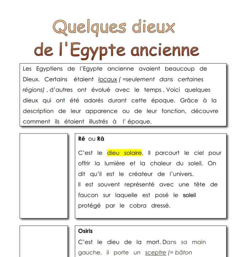 Quelques dieux de l'Egypte ancienne