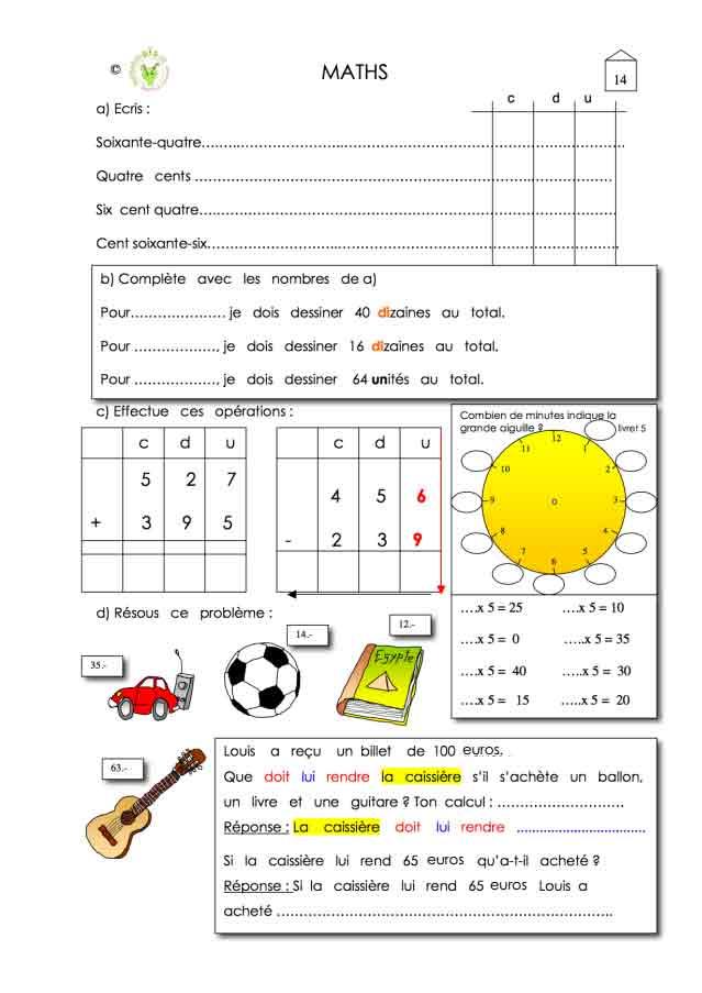 Programme semaine 14 Maths 5P Harmos