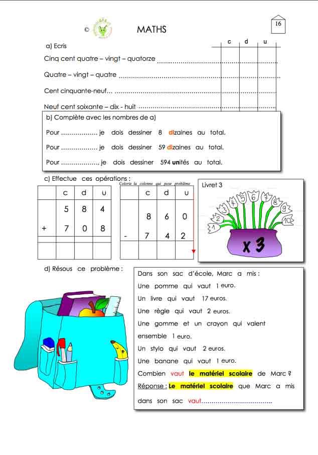Programme semaine 16 Maths 5P Harmos