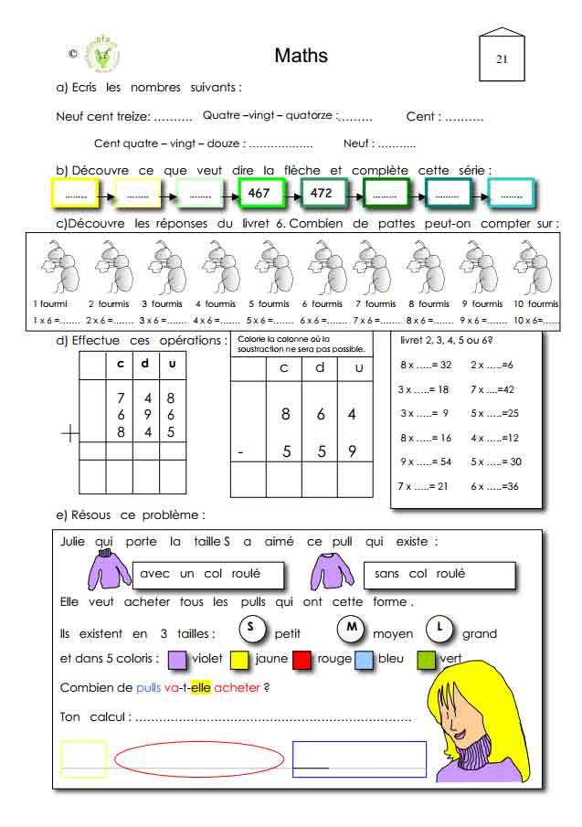 Programme semaine 21 Maths 5P Harmos