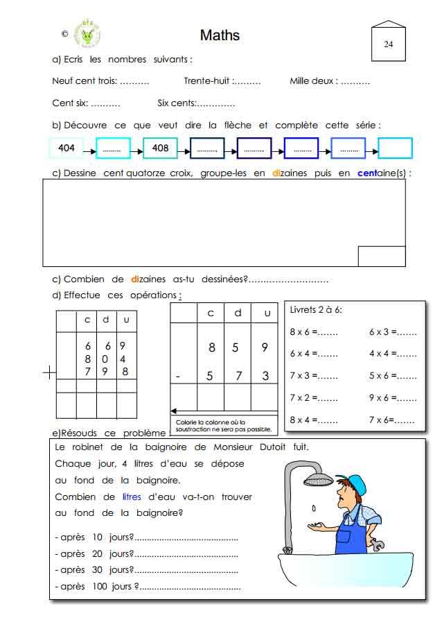 Programme semaine 24 Maths 5P Harmos