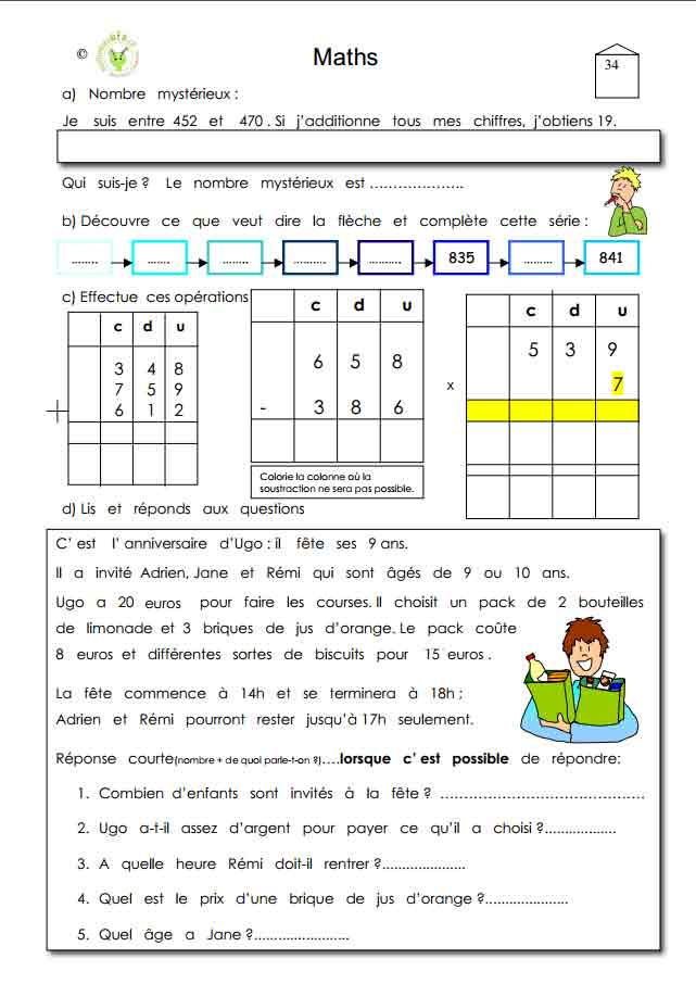 Programme semaine 34 Maths 5P Harmos