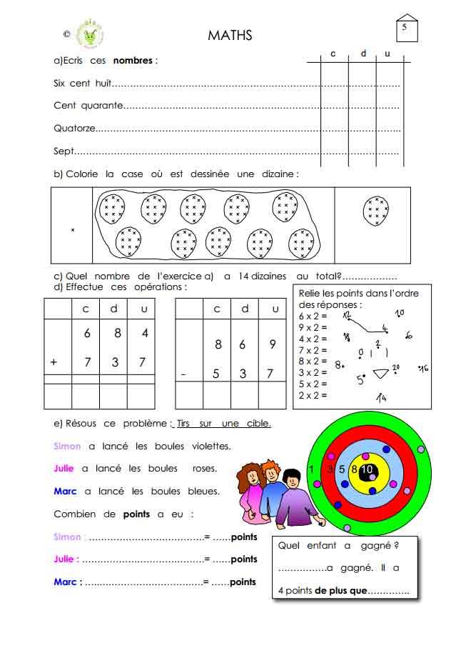 Programme semaine 5 maths 5P Harmos