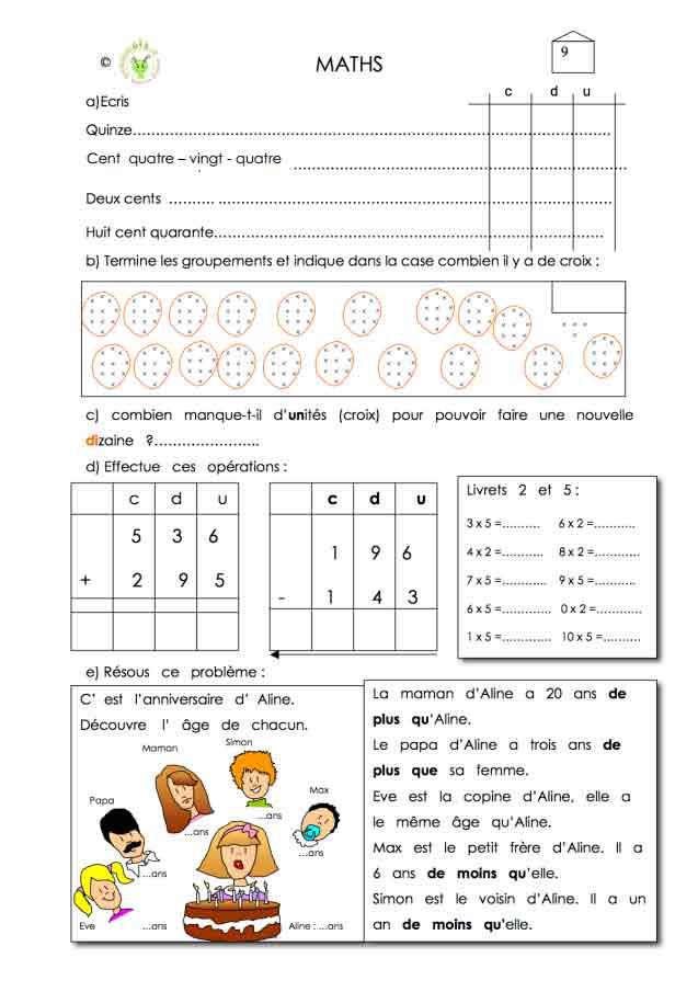Programme semaine 9 Maths 5P Harmos