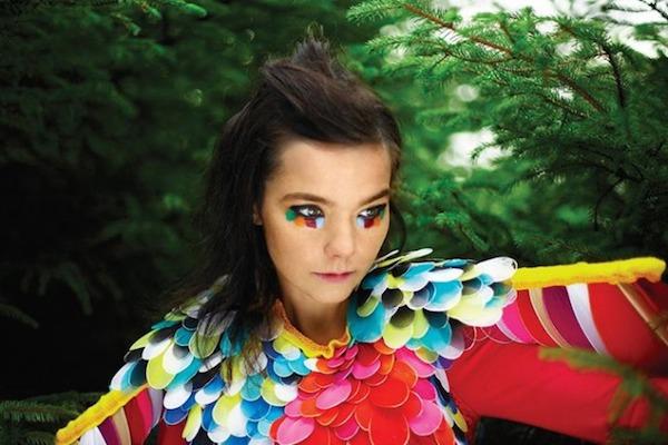 bjork dressed as a colourful bird