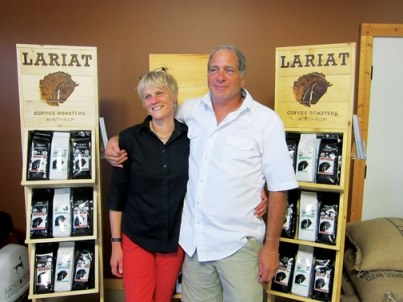 Lori Loomis and Bob Gamblin unveiled a new name and look for what has been known as Backcountry Coffee Roasters but will now be marketed as Lariat Coffee Roasters. Photos by Don Nelson