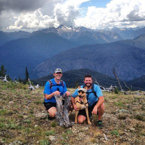 Sunday, Aug. 4: Joseph Weaver, left, and Casey Bouchard and their dog Meg, aka, Nutmeg, aka Nut, aka Nut Job, on top of Goat Peak just below the lookout. Photo by Jennifer Kovitz.