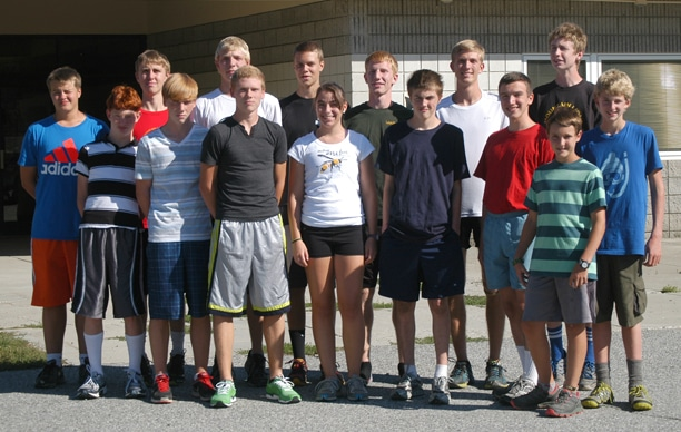 Members of the Liberty Bell High School varsity cross-country team include, from left front, Tim Haley, Josiah Klemmeck, Ben Klemmeck, Lilly Schlotzhauer, Geza Sukovaty, Erik Ellis, Lazo Gitchos and Eli Nielsen; and back row, from left, Tyler Bergevin-Krumme, Cory Diamond, Logan Szafas, Carter Dornfeld, Willy Duguay, Liam Daily and Morgan Ott. Photo by Mike Maltais