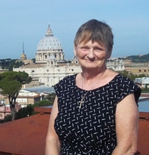 Nancy Stitt in Rome, with St. Peter's Basilica in the background. Photo courtesy Nancy Stitt