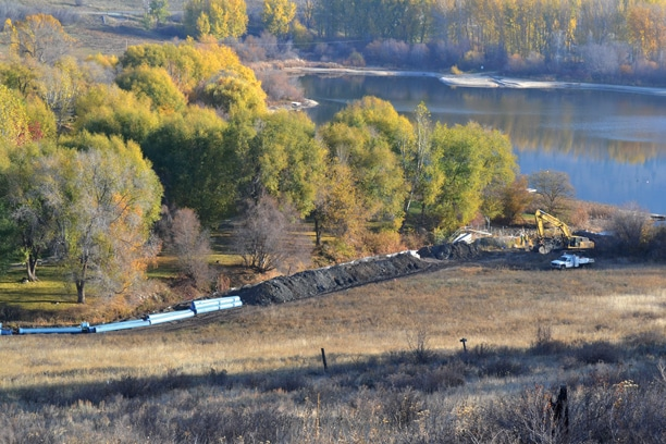 About 2,000 feet of new pipe is being laid as part of a project to streamline how the Chewuch Canal Company fills or withdraws water from Pearrygin Lake. Photo by Laurelle Walsh
