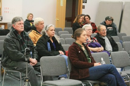 Members of the pubic attend an Okanogan County Commissioners hearing on marijuana regulations Dec. 6. Photo by Marcy Stamper