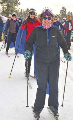 Cindy Button leads the way at last year's Ski for Women event, which benefits Room One. File photo by Laurelle Walsh