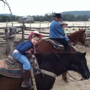 Isabella Curtis riding Shadow at the Dixie Dude Ranch in Bandera, Texas. Photo by Becky Curtis