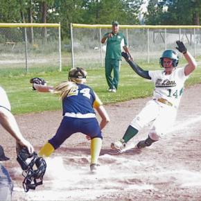 Kuirstin Pilkington sliding into home at May 13 game against Oroville. Reader submitted by Brent Tannehill