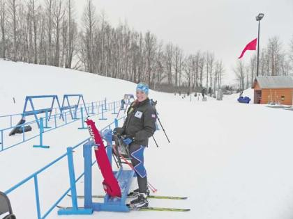 Liberty Bell High School junior biathlete and newly-minted Washington National Guard private Elise Putnam gets some time in on a biathlon practice range in Alaska in preparation for the National Guard Biathlon Championships in Jericho, Vt., later this week. Putnam won the Junior Women's Pursuit and Sprint races at the National Guard's Western Region finals last January to qualify for the championships. Photo courtesy Washington National Guard