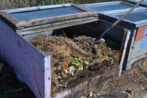 One of the compost bins. Photo by Laurelle Walsh