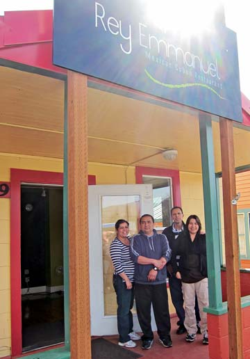 Reyna Lopez, left, Manuel Lopez, Gloria Miranda and Raymundo Miranda are all involved in operating the new Rey Emmanuel restaurant in Twisp. Photo by Don Nelson