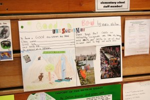 Many second graders made posters focused on the Methow Valley ecosystem. Photo by Darla Hussey