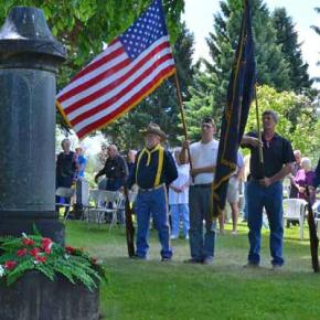 members of American Legion Post 120, from left Gary Storrs, Jim Sullivan, Gary Erickson and Daryl Denny, made up the Honor Guard at Monday's Memorial Day ceremony at Sullivan Cemetery in Winthrop. Photo by Laurelle Walsh