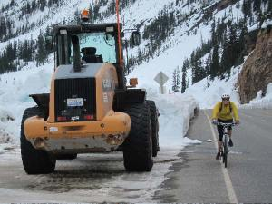 A bicyclist nears the top of Washington Pass. Photo by Don Nelson