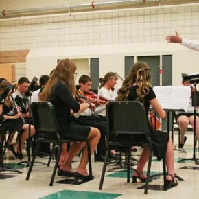 """The orchestra joined the concert band to perform """"Jesu, Joy of Man's Desiring."""" Photo by Darla Hussey"""