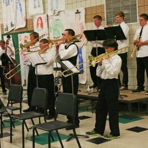 """The jazz band brass section did a good job on """"Blue Tango."""" Photo by Darla Hussey"""