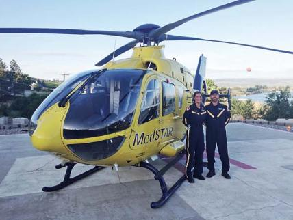 Aura Battis, a NW MedStar nurse, and David Leeman, a pilot, are part of the organization's network of helicopter response teams. Photo courtesy of NW MedStar