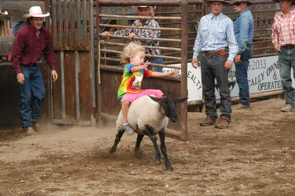 Lilly Wallace competed in the mutton busting event. Photo by Mike Maltais
