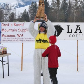 """Photo by Darla HusseyBen Kaufman, dressed as catsup, eyes the """"golden poodle."""" Kaufman came in third with his """"hot dog"""" in the costume contest."""
