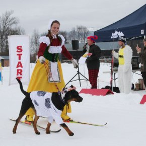 Photo by Darla HusseyMadeleine Eckmann, the milkmaid, and her dog/cow Loki took second place in the costume contest portion of the event.