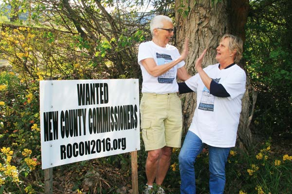 Photo by Marcy Stamper ROC members Gay Northrup, left, and Charlene Burns are working to educate the electorate and to energize people to participate in county affairs — as candidates and as voters.