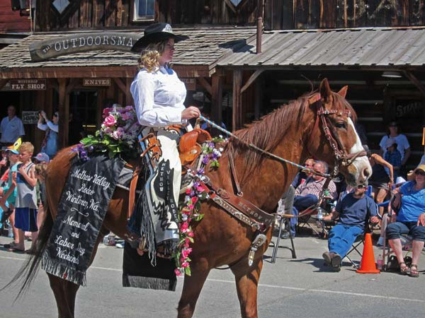 Photo by Don Nelson Carlee Wright and her horse, Sonny, made their first appearance representing the Methow Valley Rodeo at '49er Days.