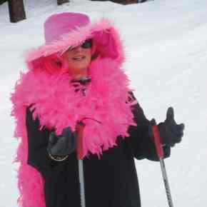Photo by Don Nelson Midge Cross was all about colorful glamour but admitted that the outfit was a little warm for skiing.