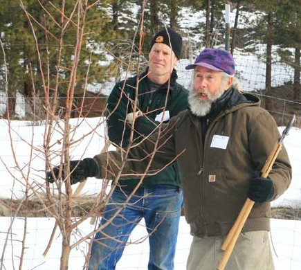 Photo by Marcy Stamper Orchardist Richard Murray, right, demonstrates pruning techniques at Classroom in Bloom's pruning workshop, as participant Jon Albright listens.