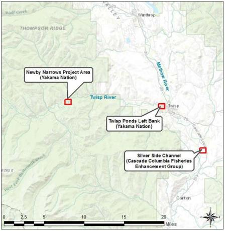 Map courtesy of Hans Smith, Yakama Nations Fisheries Three projects to improve fish habitat are taking place on the Twisp and Methow rivers this summer.
