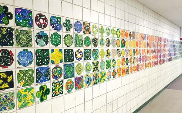 Photo by Ashley Lodato More than 450 Celtic knot paintings, all done by students, decorate the Methow Valley Elementary School's Eagle gym.